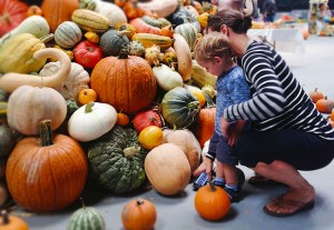 Fletcher Pope, 2, of Petaluma with his mom at the National Heirloom Expo.