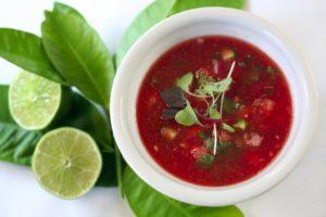 Watermelon gazpacho chilled soup with jicama, serrano, cucumber and lime by chef/owner Catherine Venturini of Olive & Vine restaurant in Glen Ellen. (photo by John Burgess/The Press Democrat)
