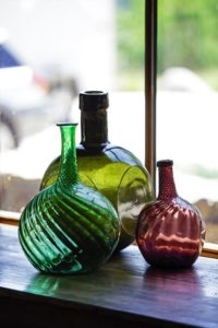 Antique hand made wine bottles.