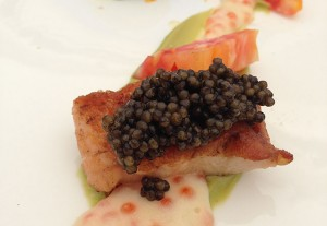 A salmon and roe dish featuring heirloom tomatoes at the 2013 Chef Challenge.