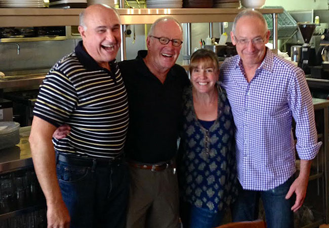 Steve Garner, John Ash, Marcy Smothers and Clark Wolf of KSRO's Saturday food lineup.