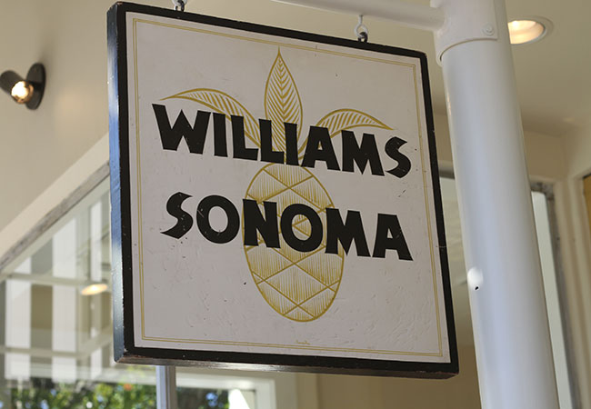 Williams-Sonoma returns to Sonoma on Oct. 4. The original sign hangs outside.