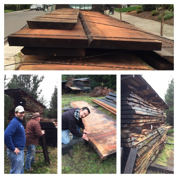 Old redwood planks will be used for the furniture at Valette, opening in Healdsburg