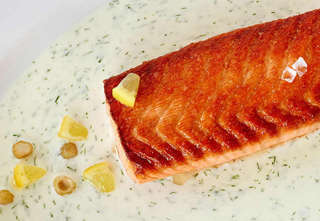 Ad Lib Atlantic Salmon, one of the menu items from the Thomas Keller Restaurant Group and Silverado Resort in Napa. Photo: Meg Smith.