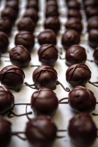 Just-made butter creme chocolates at Sonoma Chocolatiers.