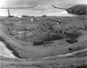 "THE HOLE IN THE HEAD, 1963: In October 1964, the Atomic Energy Commission released a report that declared Bodega Head was ""not a suitable location for the proposed nuclear power plant."" PG&E canceled plans for the plant. (photo courtesy Sonoma County Museum)"