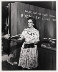 TAKING UP THE CAUSE: Hazel Bonnecke Mitchell, above, a waitress at the Tides Wharf Restaurant in Bodega Bay, led the petition-signing campaign against the proposed PG&E plant on Bodega Head. (photo courtesy Sonoma County Museum)