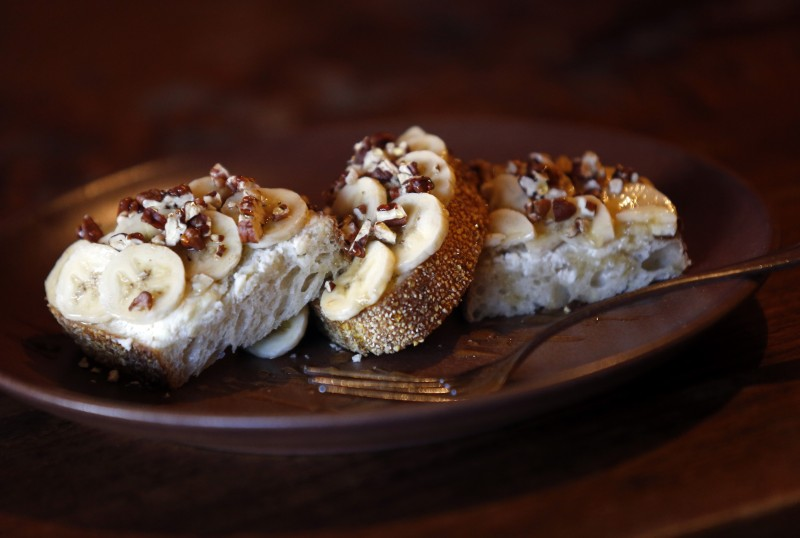 Breakfast Toast with ricotta cheese, banana slices, toasted pecans, honey and salt at Della Fattoria in Petaluma, on Monday, April 4, 2016. (BETH SCHLANKER/ The Press Democrat)