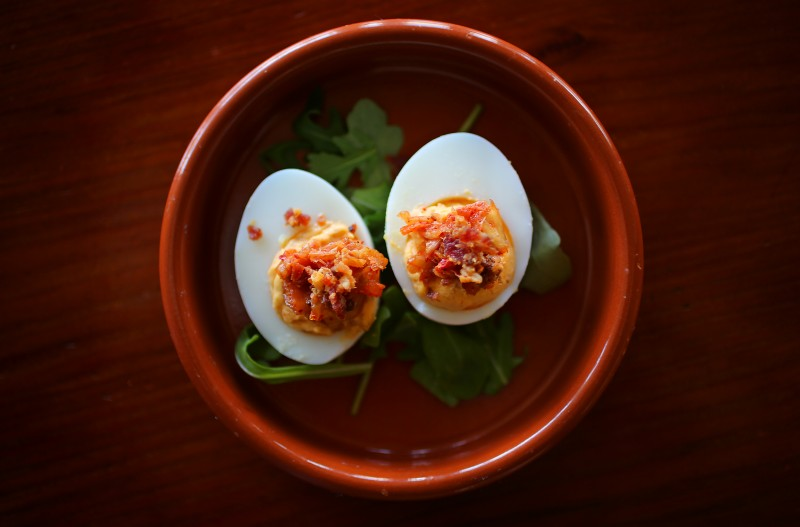 Kimchi bacon deviled eggs by chef Liza Hinman of The Spinster Sisters. (Christopher Chung