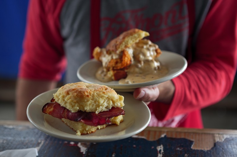 Chicken biscuit and ham biscuit from Fremont Diner in Sonoma Food shots for Cheap Eats section Chris Hardy