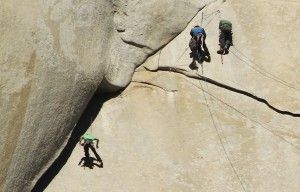 Kevin Jorgeson, left, of Santa Rosa takes a fall while free climbing the first pitch of his final day on El Capitan in the Yosemite Valley on January 14, 2015. Jorgeson returned to the beginning of the pitch and completed it. (Photo by John Burgess/The Press Democrat)