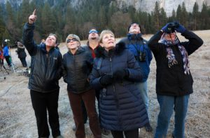 Spectators filled the El Capitan meadow in Yosemite Valley on Wednesday to watch as Kevin Jorgenson, of Santa Rosa and Tommy Caldwell try to summit the rock to become the first to free climb the peak. (Photo by John Burgess/The Press Democrat)