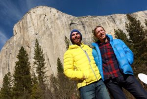 Kevin Jorgenson, of Santa Rosa, and Tommy Caldwell, right, talked to the press after completing the first free climb of the Dawn Wall route of El Capitan yesterday. (Photo by John Burgess/The Press Democrat)