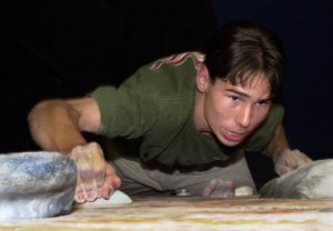 Kevin Jorgeson climbs at Vertex Climbing Center in Santa Rosa in 2001 when he was a sophomore. (photo by Mary Gardella)