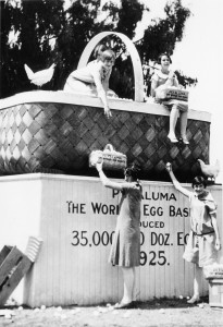 """A giant egg basket, symbolic of Petaluma's status as the """"World's Egg Basket"""" and one of the region's largest agricultural industries during the 1920s."""