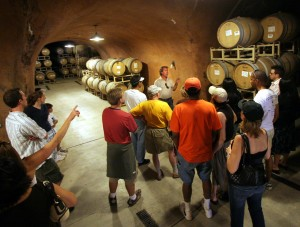 Patrick Schieglich leads a tour of the wine caves at Benziger Family Winery. (Photo by Scott Manchester)