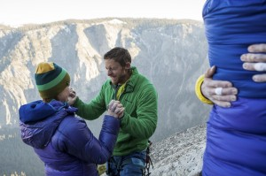 Becca and Tommy Caldwell celebrate his historic free-climb ascent of El Capitan's Dawn Wall, in Yosemite National Park, Calif.