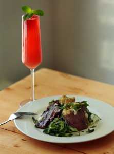 Thistle Meat's Steak Negimaki with a Grapefruit Smash Kombucha Elixir from Native restaurant in Petaluma.