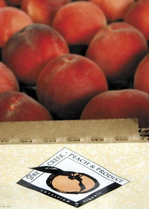 The peaches at Dry Creek Peach & Produce begin to ripen in late May.