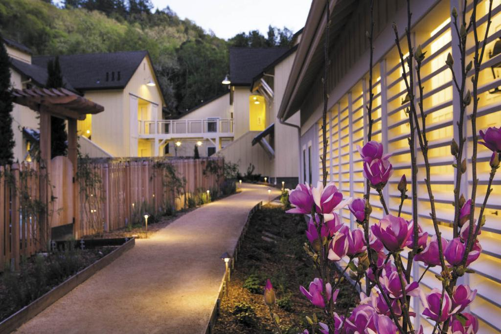 The Farmhouse Inn's new spa sits across a pathway from the outdoor pool.