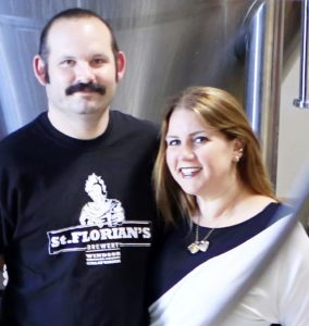 Husband and wife owners Aron and Amy Levine at St. Florian's Brewery (photo by Conner Jay)