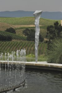 One of the six giant spike sculptures by artist-in-residence Gordon Huether that overlook the fountain at Artesa Vineyards & WInery in Napa's Carneros region. (photo by Charlie Gesell)