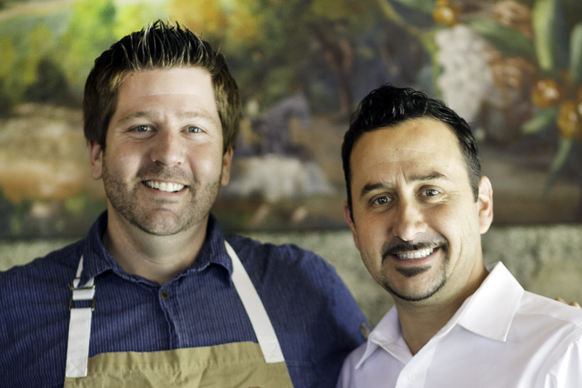 Chef Dustin Valette and his brother, Aaron Garzini at Valette in Healdsburg