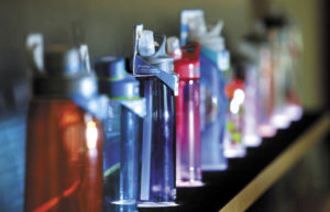 A variety of water bottle styles are on display at CamelBak.