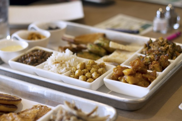 "Stax Social Eatery in Cotati offers DIY mix-and-match meals like this ""Good Indian Stuff"" tray."