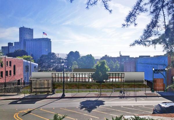 Artist rendering of the proposed Brewster's Beer Garden in Petaluma. Courtesy of Michael Goebel.
