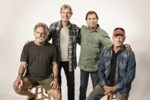 Bob Weir, from left, Phil Lesh, Mickey Hart, Bill Kreutzmann of the Grateful Dead pose at Grateful Dead Fare Thee Well portrait session on Tuesday, June 23, 2015, in San Rafael. (Photo by Jay Blakesberg/Invision for the Grateful Dead/AP Images)
