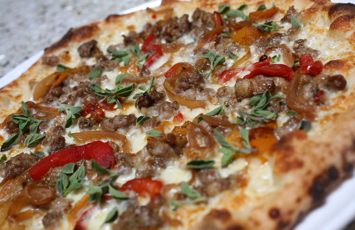 Italian Sausage Pizza at Jackson's Bar and Oven in Santa Rosa, Wednesday, August 28, 2013. (Crista Jeremiason / The Press Democrat)