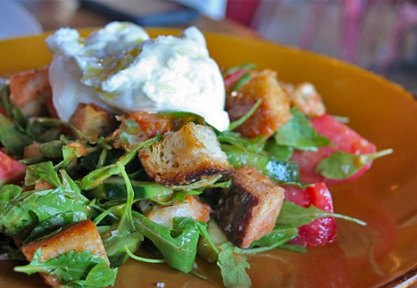 Heritage Public House in Santa Rosa: Burrata Panzanella Photo Heather Irwin