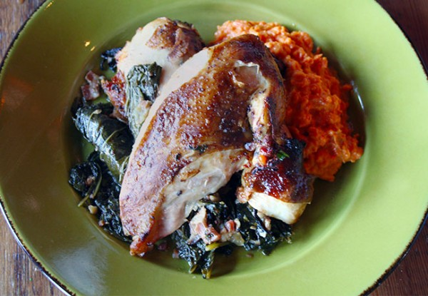 Heritage Public House in Santa Rosa: Smoked Chicken with sweet potatoes and greens. Photo Heather Irwin