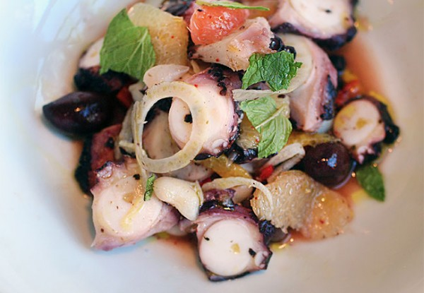 Roasted octopus at Hazel Restaurant in Occidental. Photo Heather Irwin.
