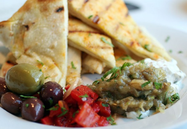 Pita with eggplant at Hazel Restaurant in Occidental. Photo Heather Irwin.