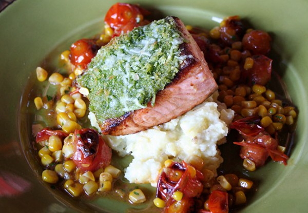 Heritage Public House in Santa Rosa: Salmon with corn relish and mashed potaotes Photo Heather Irwin