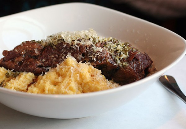Short Ribs with Polenta at Hazel Restaurant in Occidental. Photo Heather Irwin.