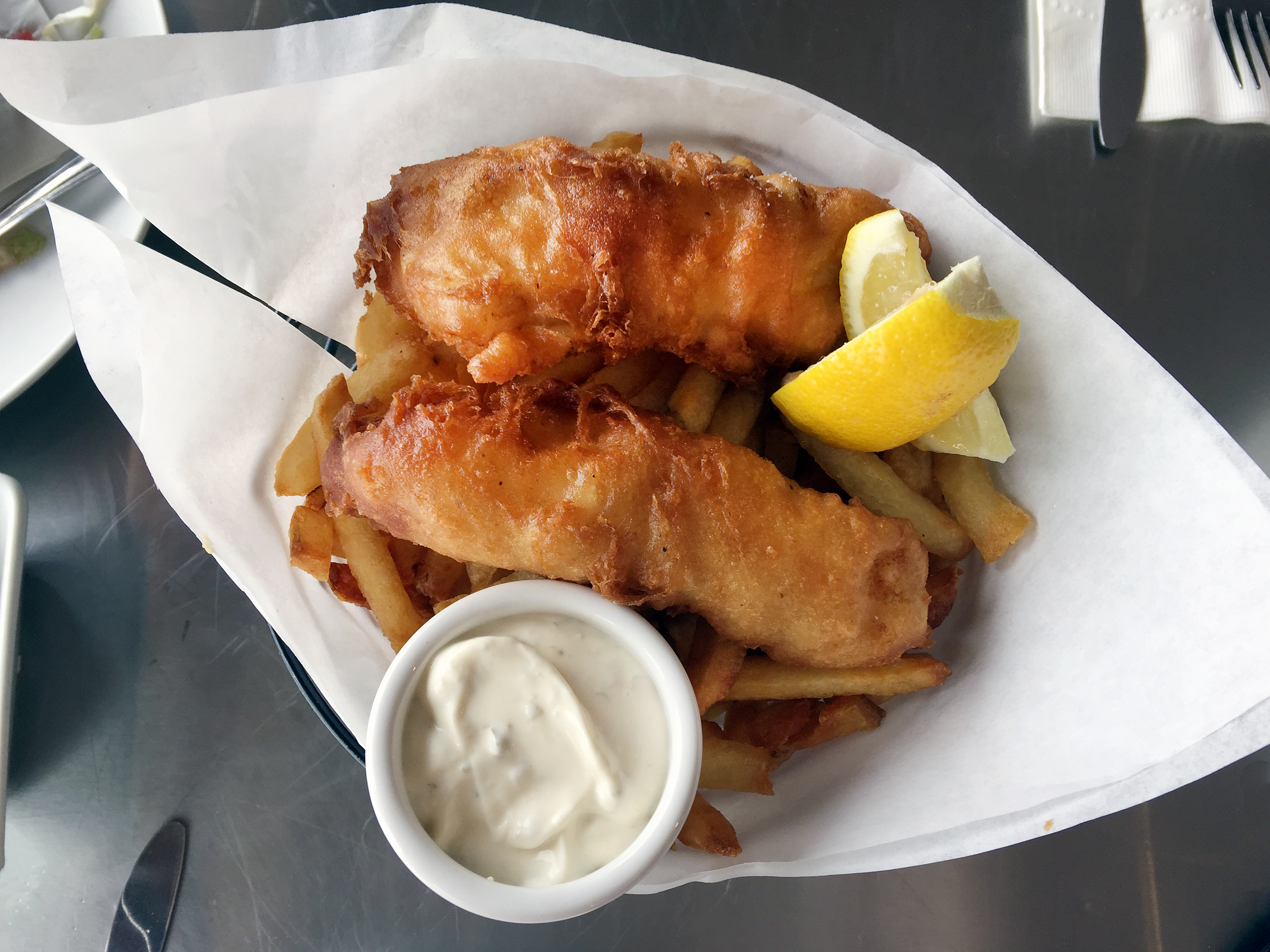Fish and Chips at Santa Rosa Seafood Raw Bar and Grill Photo: heather Irwin