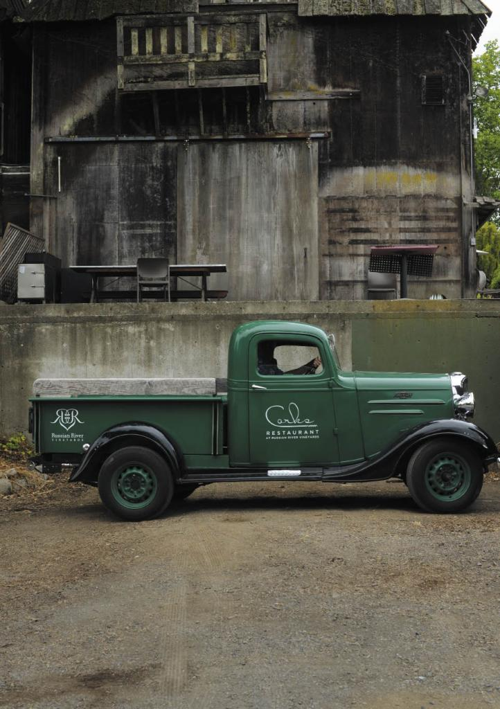 Chris O'Neill sitting in a 1936 Chevy at his Corks Restaurant at Russian River Vineyards in Forestville.