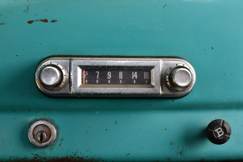 The radio of a 1964 Dodge D-100 Sweptline owned by Jack Seifrick and parked at Cast winery in Healdsburg, California. July 1, 2015. (Photo: Erik Castro