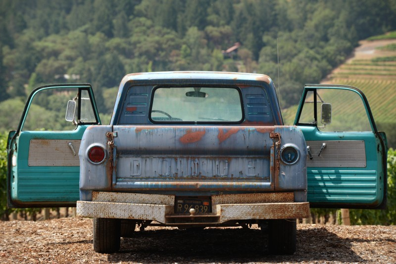 A 1964 Dodge D-100 Sweptline owned by Jack Seifrick and parked at Cast winery in Healdsburg, California. July 1, 2015. (Photo: Erik Castro