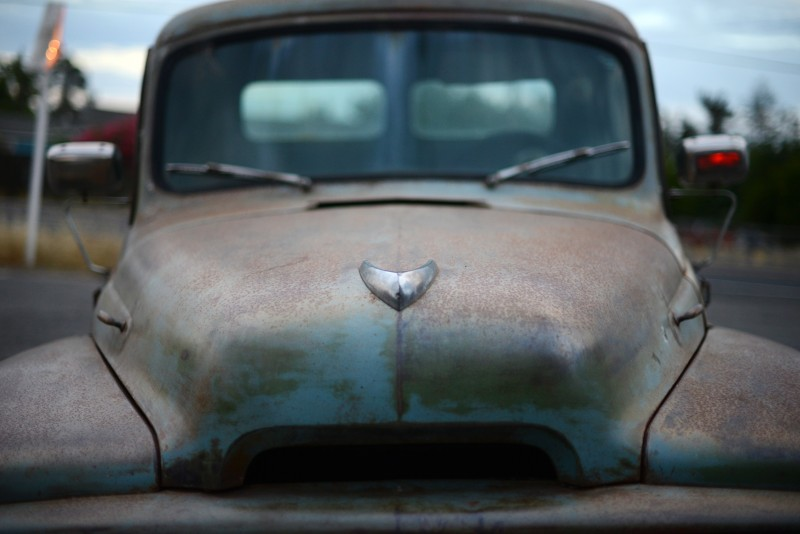 The rusted front hood of the 1954 International Harvester R-110 long bed pickup truck parked out front of The Fremont Diner in Sonoma, California. July 2, 2015. (Photo: Erik Castro