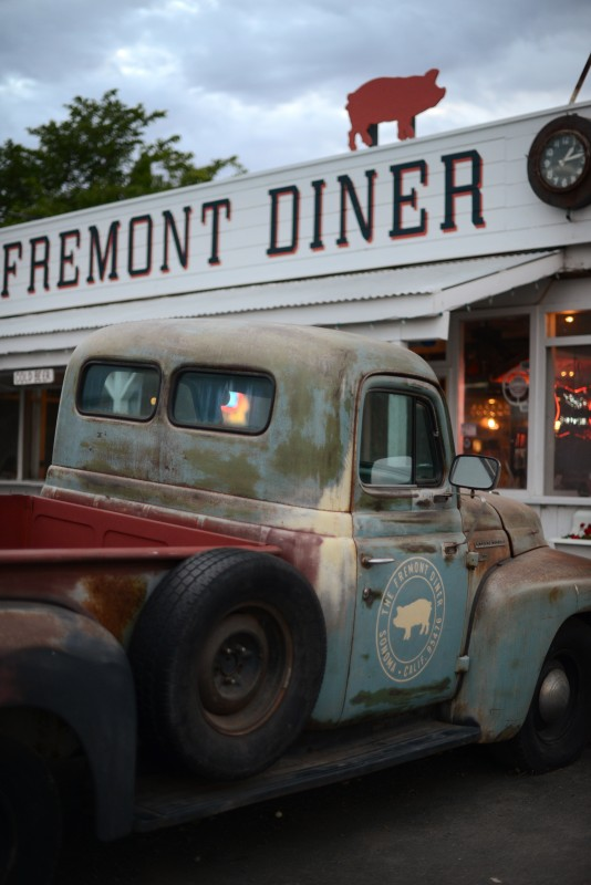 The 1954 International Harvester R-110 long bed pickup truck parked out front of The Fremont Diner in Sonoma, California. July 2, 2015. (Photo: Erik Castro