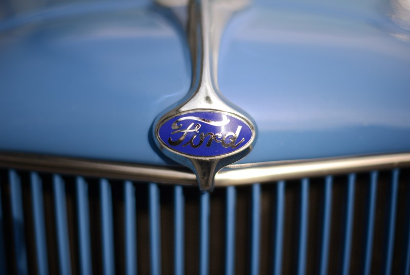 The Ford emblem of the 1932 Ford owned by Bengt Akerlind at West Wines in Healdsburg, California. July 1, 2015. (Photo: Erik Castro