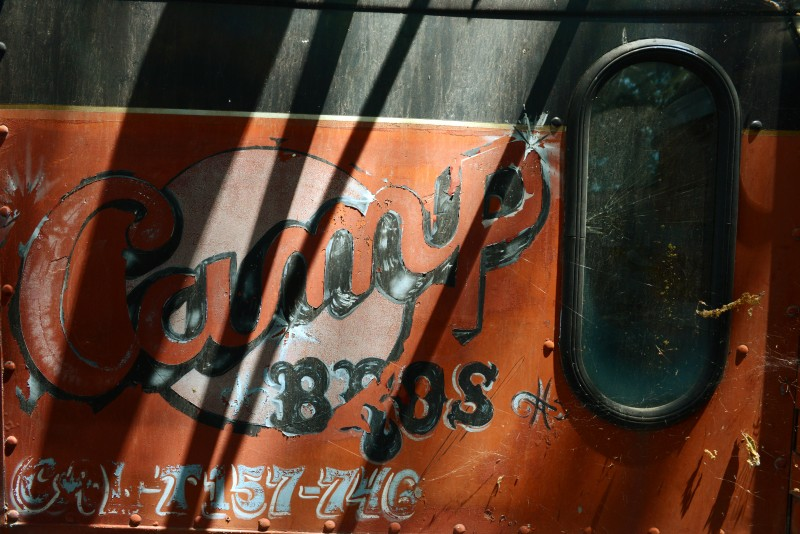 An old Camp Bros truck at Timber Crest Farms in Healdsburg, California. July 13, 2015. (Photo: Erik Castro
