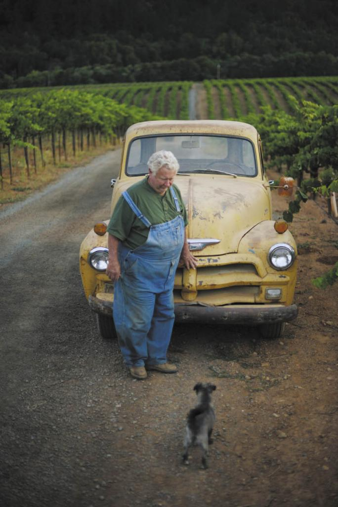 Rich Mounts of Mounts Family Winery in Healdsburg with his 1954 Chevrolet and his dog, Scrappy.