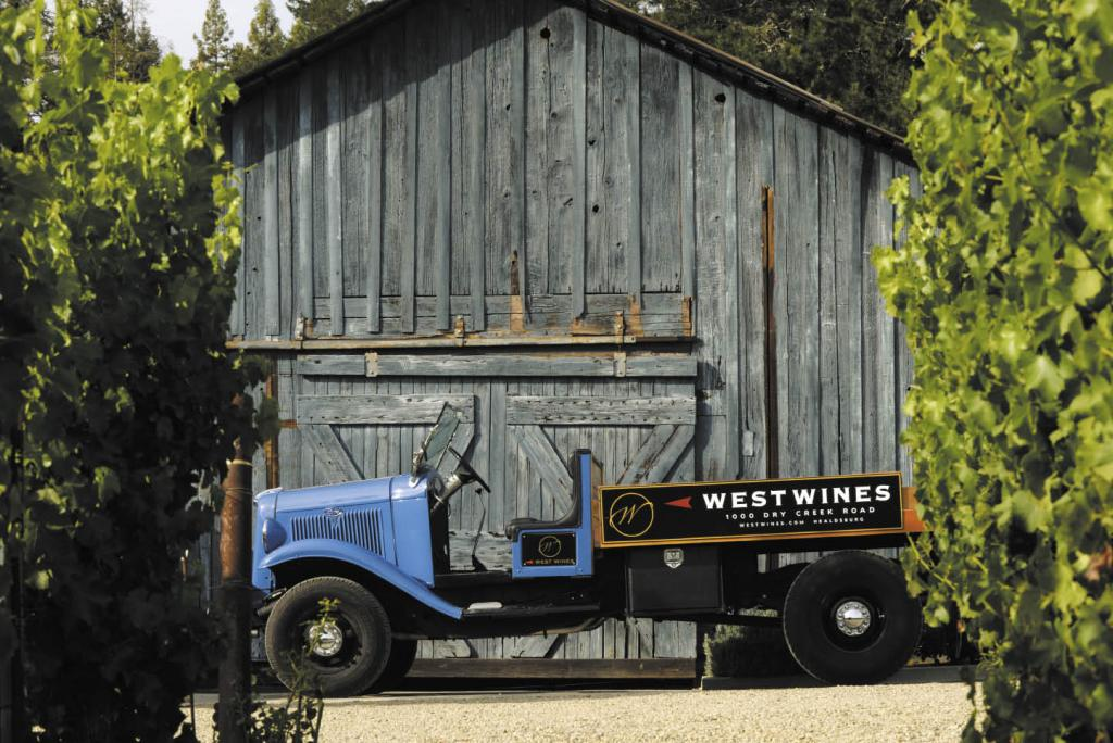 Bengt Akerlind's compact 1932 Ford flatbed, originally a milk truck at a Petaluma dairy, now works the vineyards at his West Wines in Healdsburg.