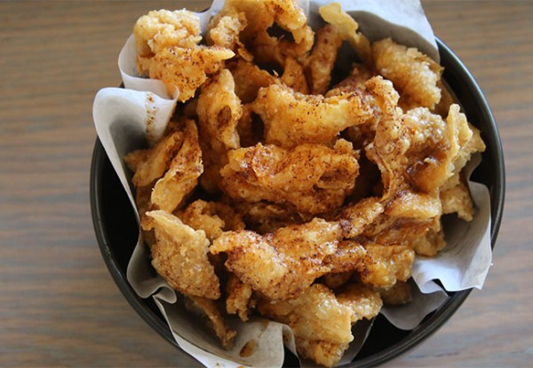 Chicken skin cracklings at Bird and The Bottle, a new Stark Reality Restaurant in Santa Rosa, CA