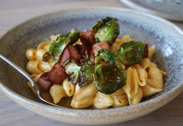 """Craft"" Mac and Cheese with mortadella and fried Brussels sprouts at Bird and The Bottle, a new Stark Reality Restaurant in Santa Rosa, CA"